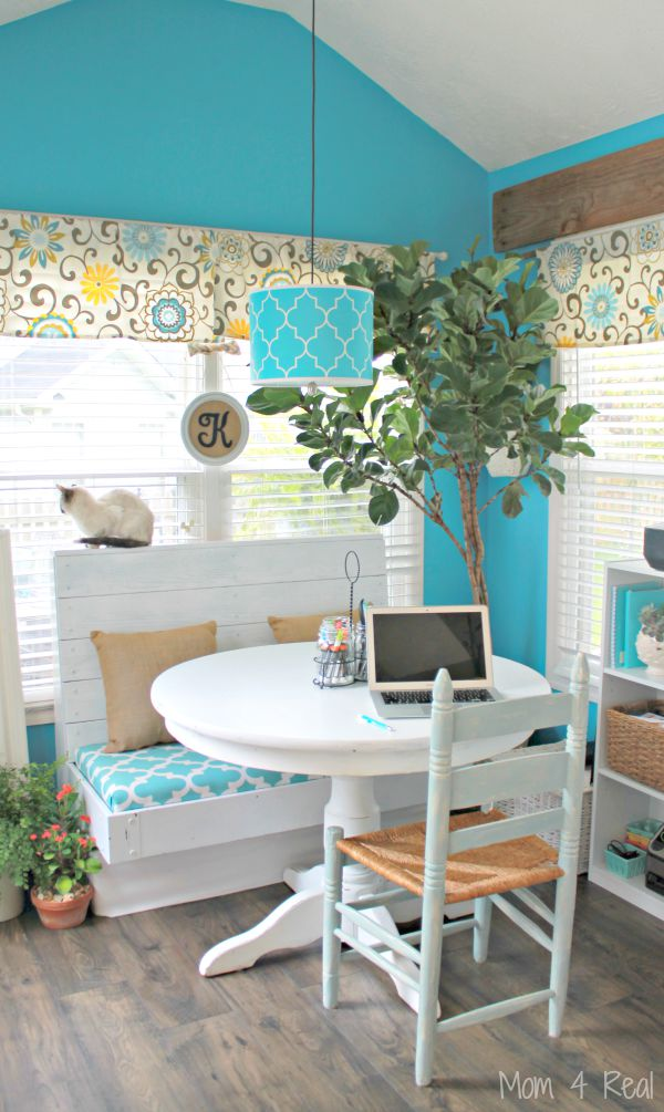 Back To School Homework Area In Breakfast Nook