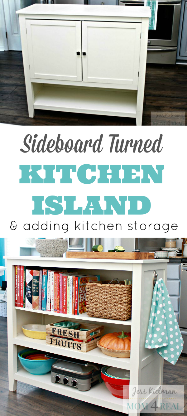 Sideboard Turned Kitchen Island - How To Think Outside Of The Box and Add Kitchen Storage