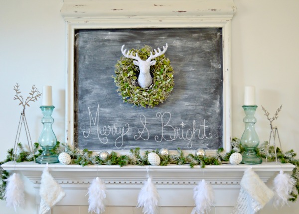 White and Silver Deer Themed Christmas Mantel