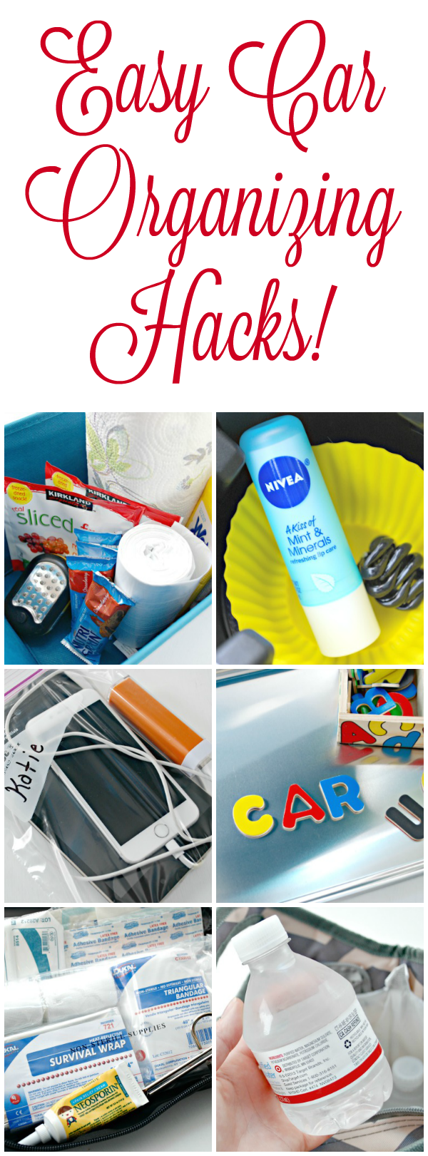 Easy Car Organizing Hacks to help your family stay organized, entertained, hydrated and sane while traveling and running around!