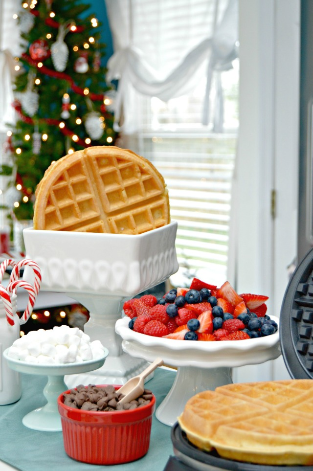 Homemade Waffle Bar and Kid's Holiday Table Setting