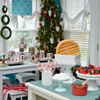 Magical Kid's Holiday Table and Homemade Waffle Bar