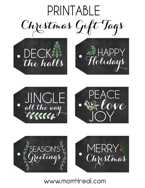 picture about Printable Christmas Tags Black and White named Totally free Printable Chalkboard Reward Tags - Mother 4 Genuine