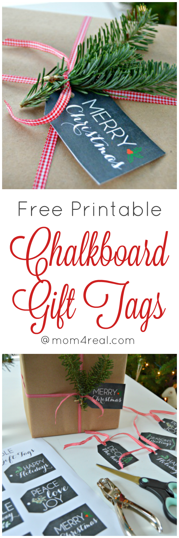 Free Printable Chalkboard Gift Tags for Christmas