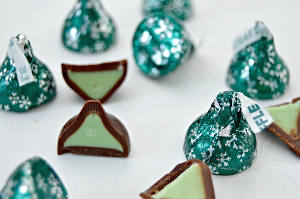 The Hershey's Kisses Dark Chocolates Filled with Mint Truffle are ...