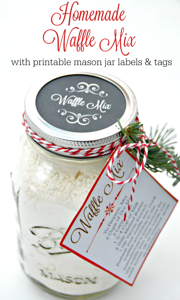 Homemade Waffle Mix with free printable mason jar labels and tags