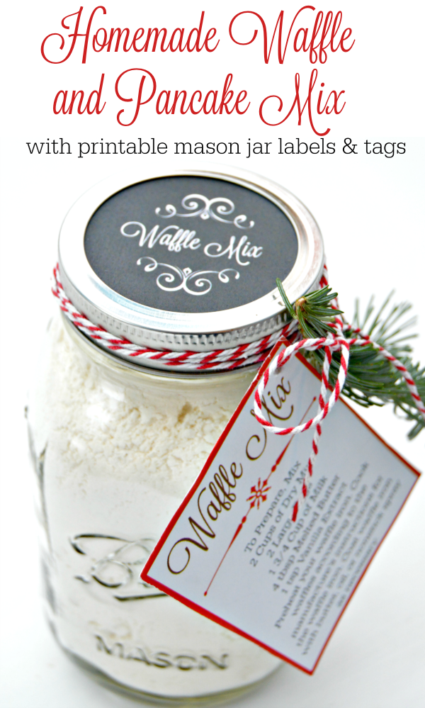 Homemade Waffle Mix Recipe with free printable mason jar lid labels and cooking instructions gift tag! Great Christmas or Holiday gift for teachers, family and friends!