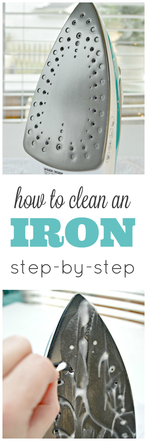 Step by step instructions on How To Clean An Iron - Remove gunk, buildup and even melted plastic!