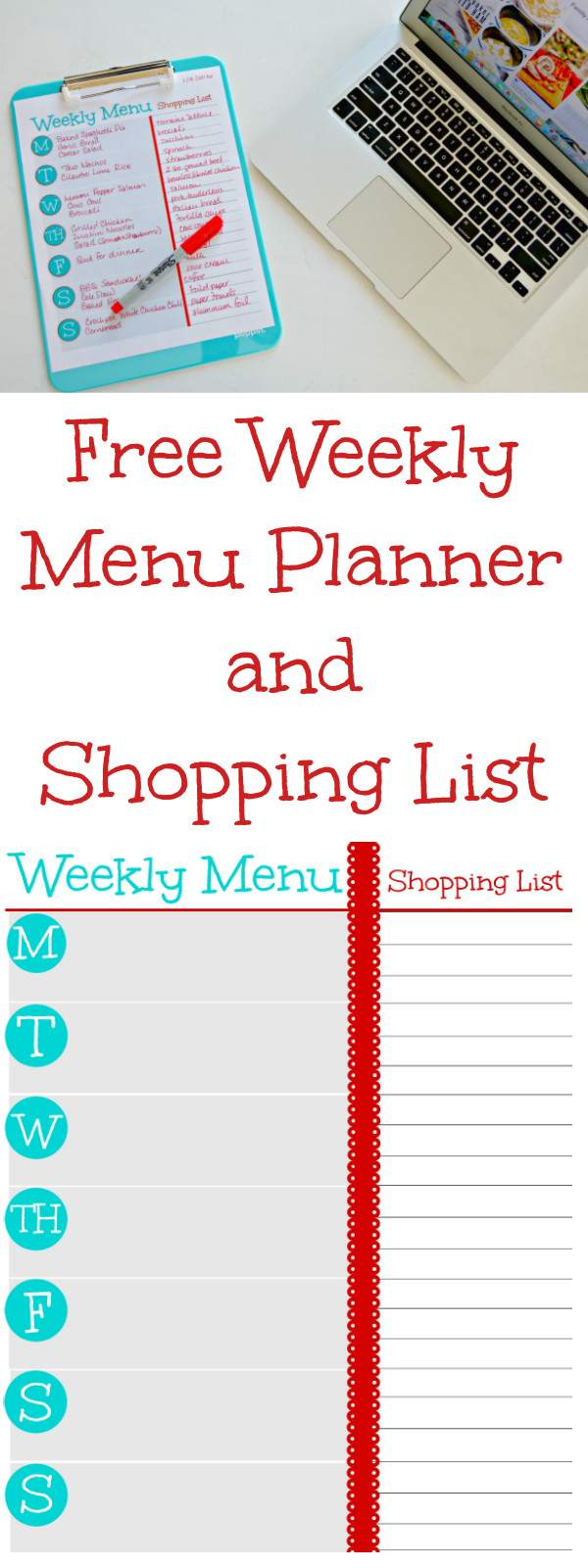 This Free Printable Weekly Menu Planner and Grocery Shopping List will help you plan your family meals and stick to that plan. The added shopping list is a great way to make sure you don't forget anything you need at the grocery for your weekly meals!