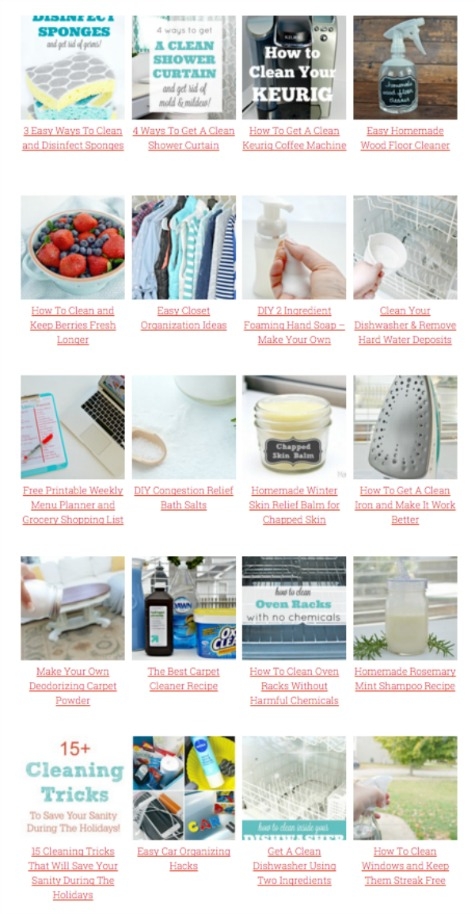 Tons of cleaning hacks, homemade cleaning solutions and organizing tips from Mom 4 Real
