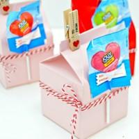 Milk Carton Valentines Treat Boxes