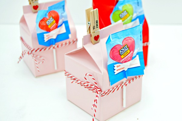 Milk Carton Valentines Treat Boxes