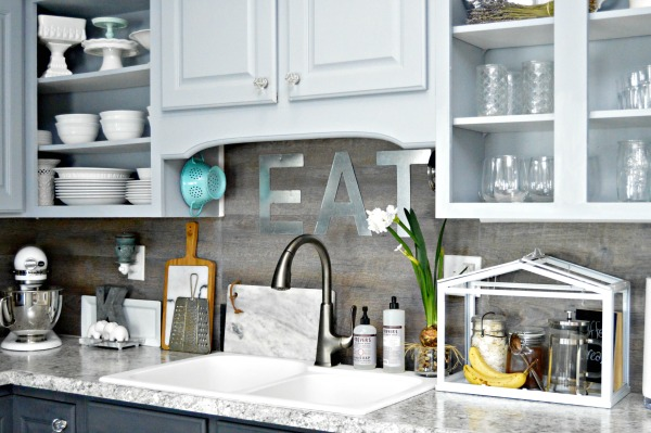 Kitchen Backsplash Vinyl inexpensive backsplash idea ~ faux plank wall - mom 4 real