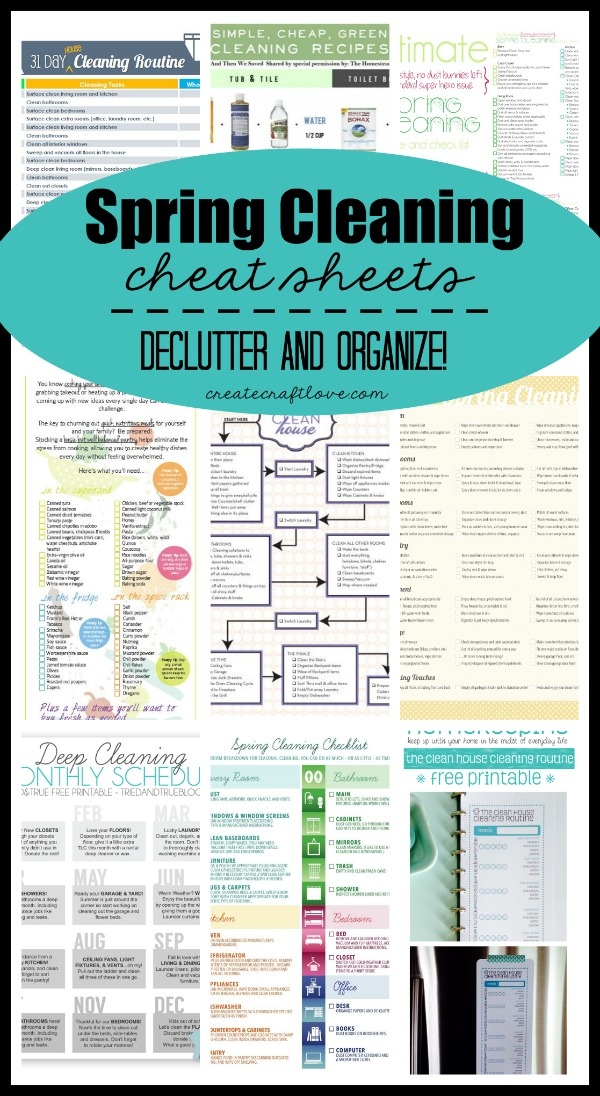 Spring Cleaning Cheat Sheets featured on Create Craft Love