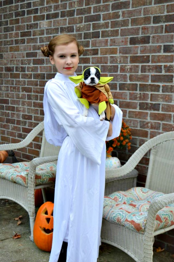 Princess Leia and Yoda - Halloween Costumes - Boston Terrier