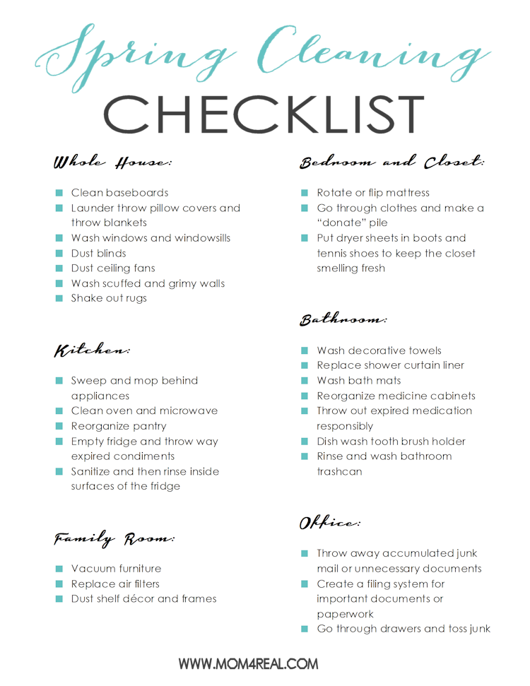 Free Printable Spring Cleaning Checklist from Mom4Real.com