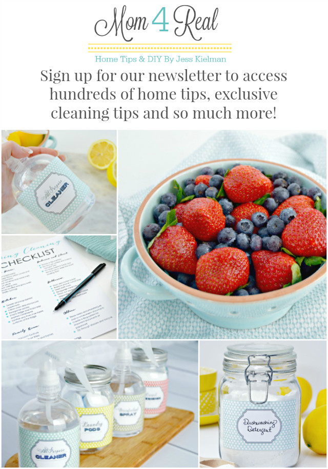 Sign up for Mom 4 Real's newsletter to access hundreds of home tips, exclusive cleaning tips and so much more!