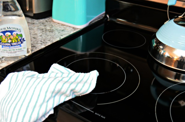 Clean a ceramic stovetop with vinegar.