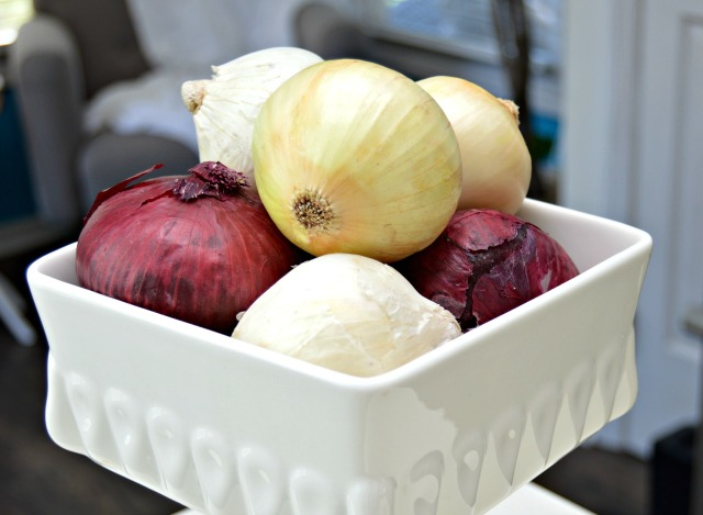 Keep onions fresh longer by storing them in a cool, dark area.