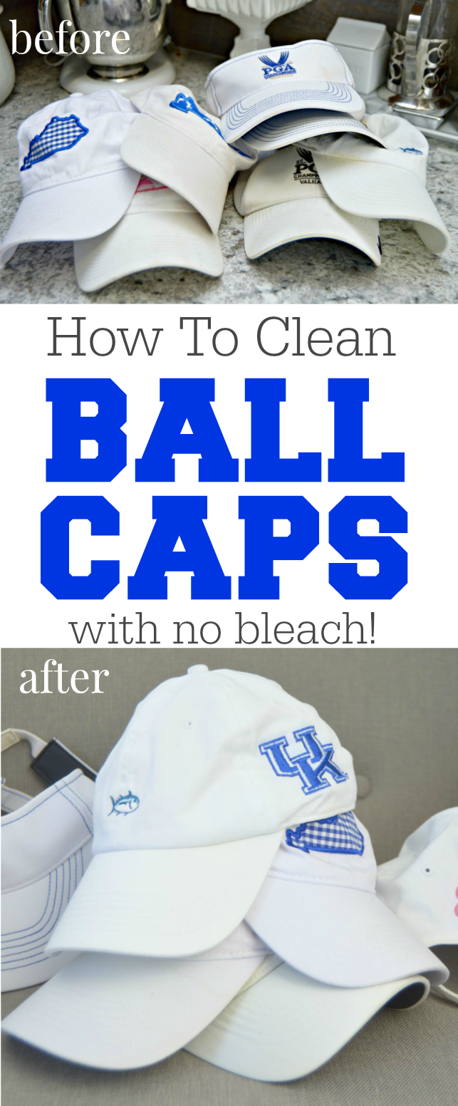 How To Clean Ball Caps easily. Got dirty ball caps or golf hats? It's super easy to clean them and remove sweat stains and dirt with no bleach at all!