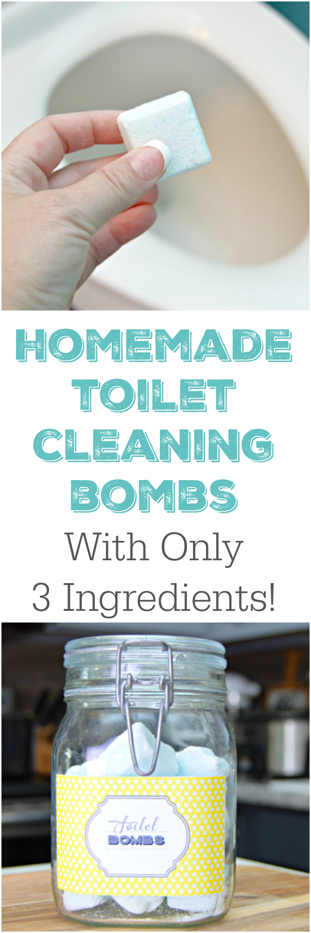3 ingredient homemade toilet cleaning bombs - Homemade Bathroom Cleaner