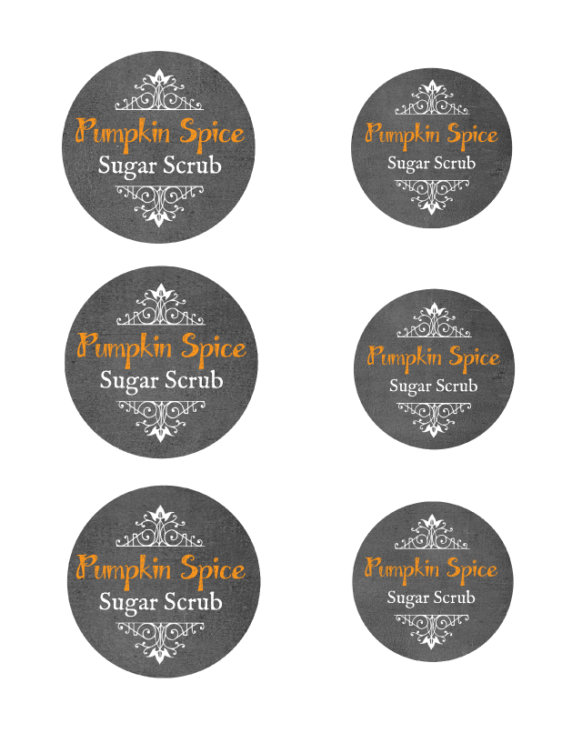 Pumpkin Spice Sugar Scrub Chalkboard Labels For Small and Large Mouth Mason Jars