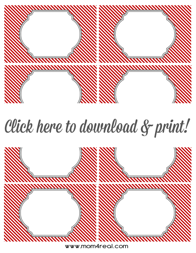 Red and White Candy Cane Striped Labels