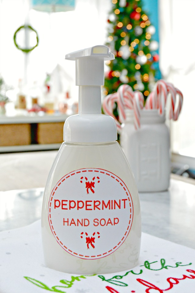 Homemade Peppermint Foaming Hand Soap with Free Printable Labels