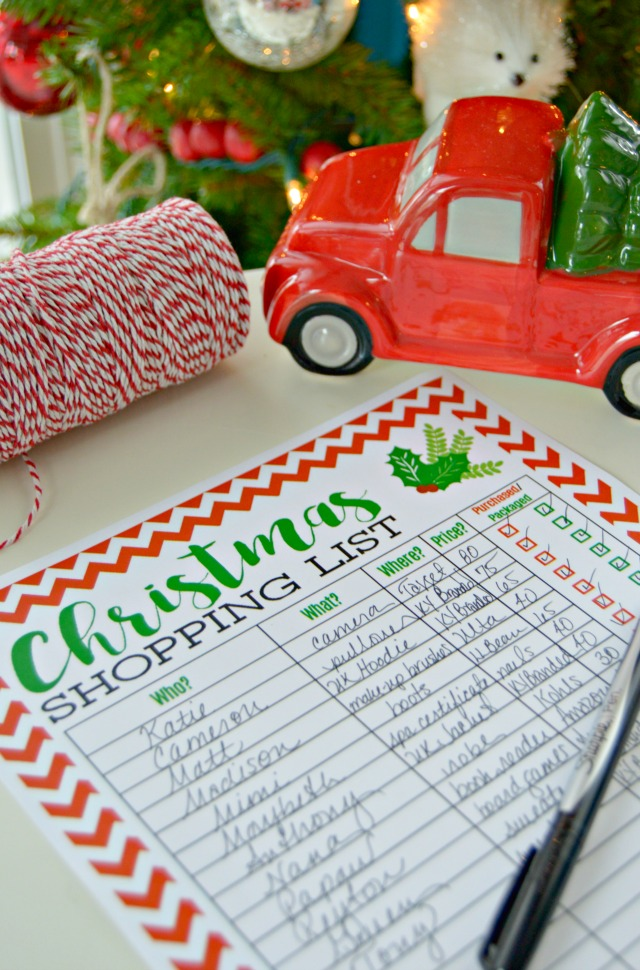Freebie Printable Christmas Shopping List