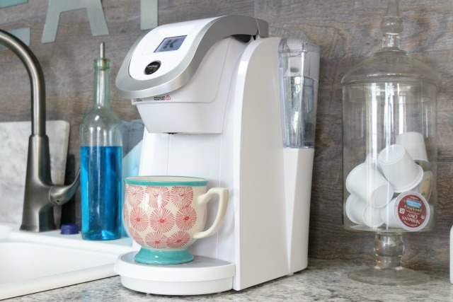 white Keurig coffee machine