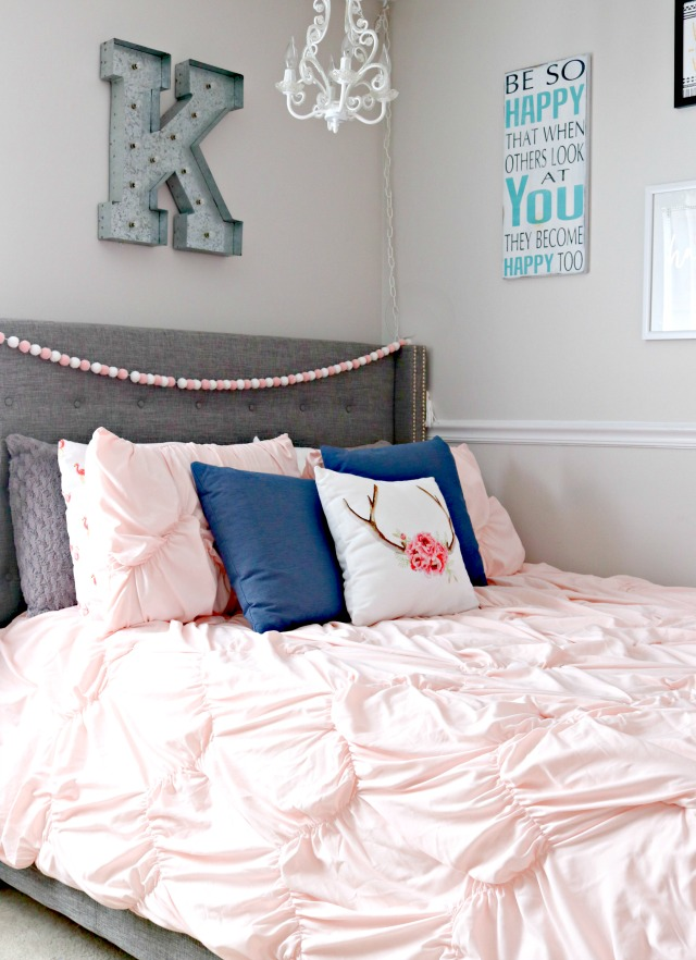 Perfect Blush pink is her favorite color right now so finding her bedding was super easy Once we settled on the blush colored forter we knew we needed to add