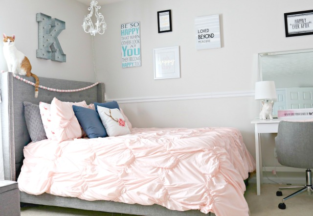 Trend Teen Girl us Bedroom Makeover with Navy Blue Grey and Blush Pink Touches