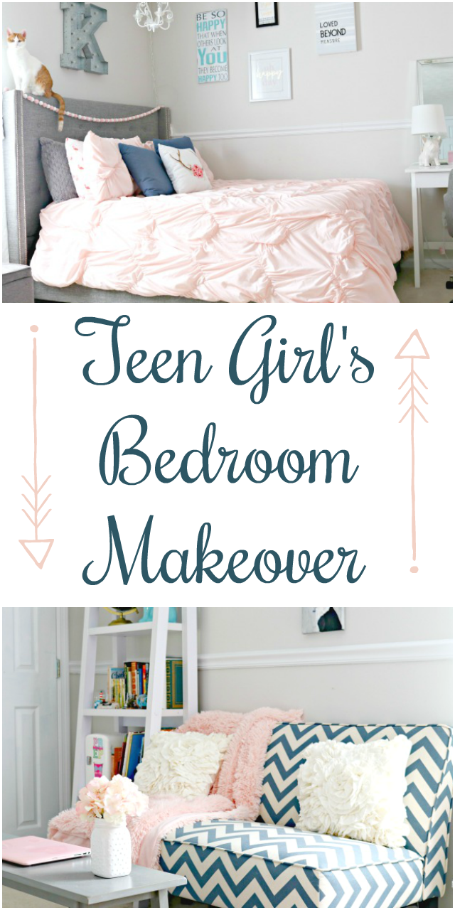 Teen Girl's Bedroom Makeover with Navy Blue, Grey and Blush Pink Touches