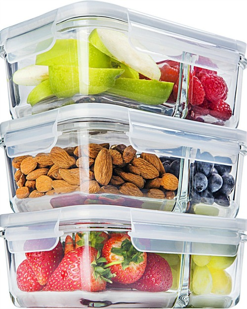 Glass Meal Prep Divided Containers