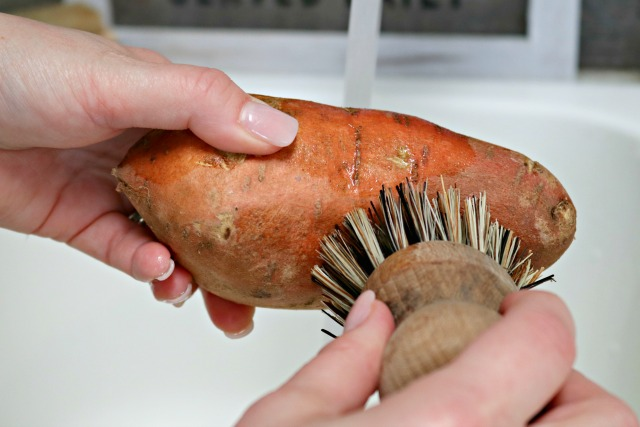 cleaning a sweet potato