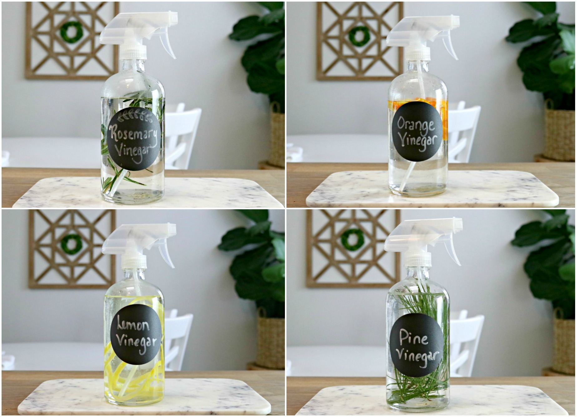 rosemary cleaning vinegar, orange cleaning vinegar, lemon cleaning vinegar and pine cleaning vinegar