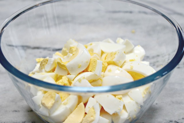 hard boiled eggs in a glass bowl