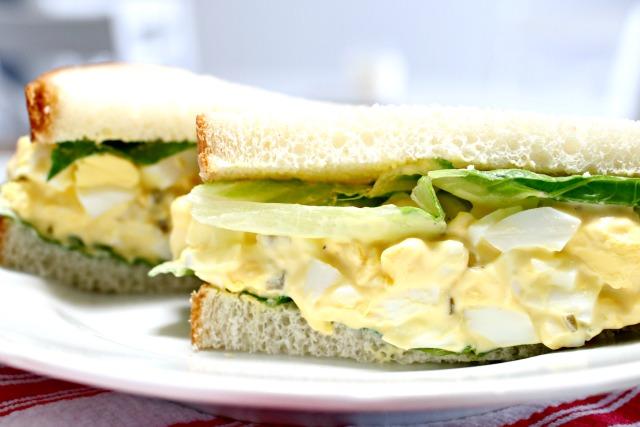 homemade egg salad on white bread