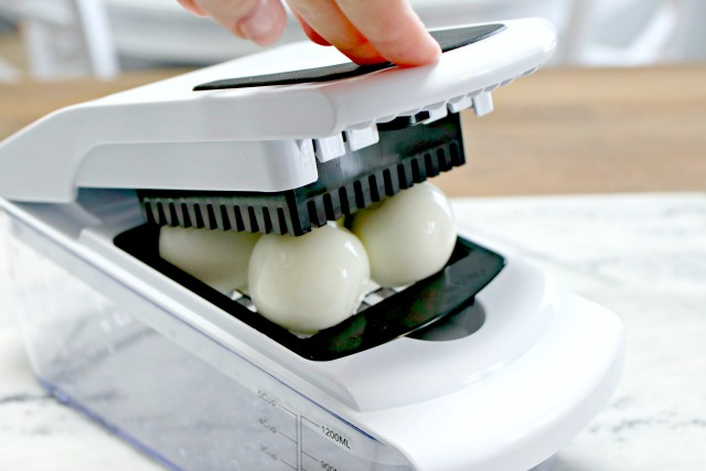 chop eggs using a food chopper mandoline slicer