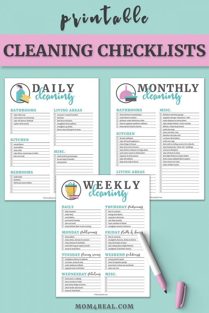 photograph regarding Cleaning List Printable named Printable Cleansing Checklists for Each day, Weekly and Every month