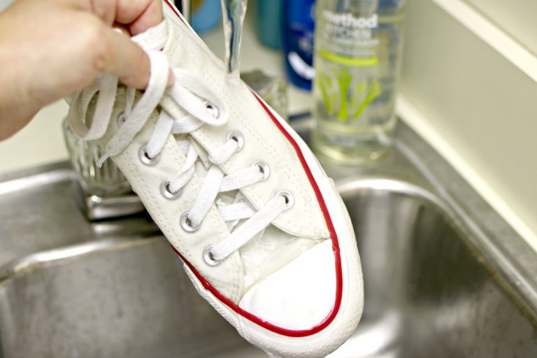 rinsing canvas shoes