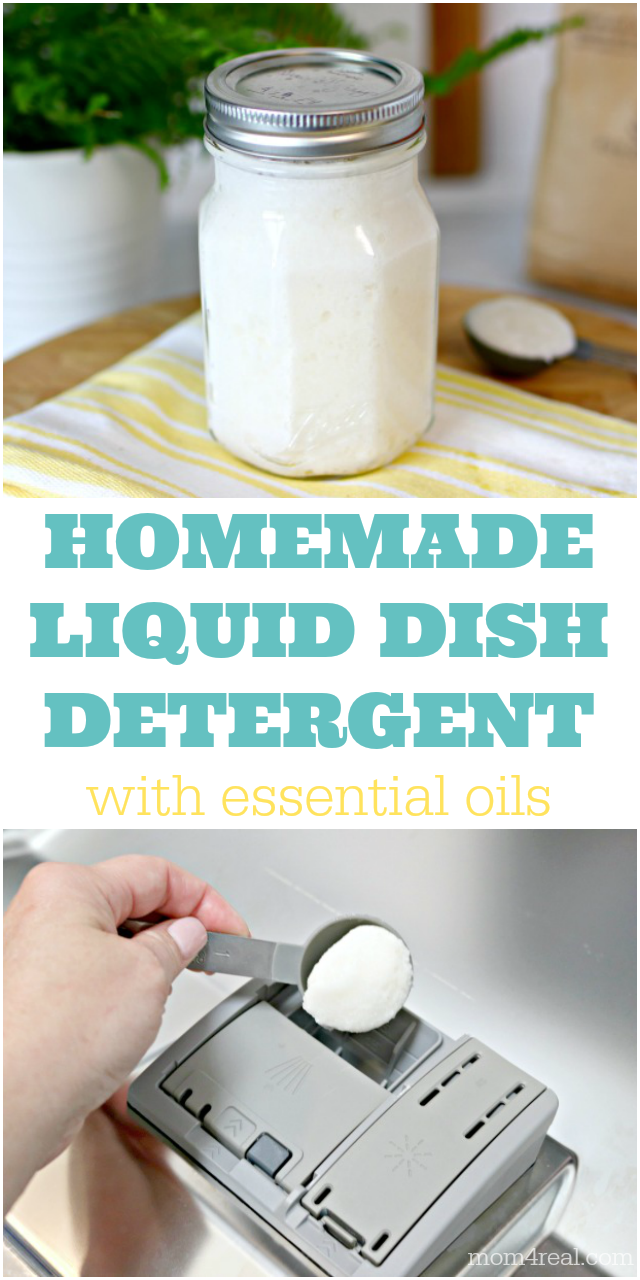 homemade liquid dishwasher detergent with essential oils