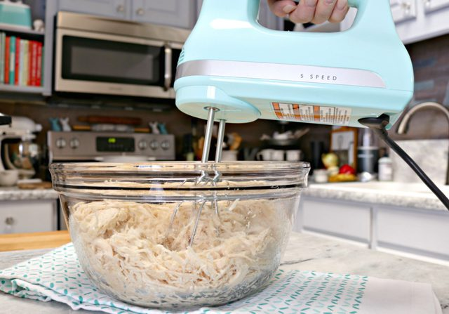 shredding chicken breasts using a hand mixer