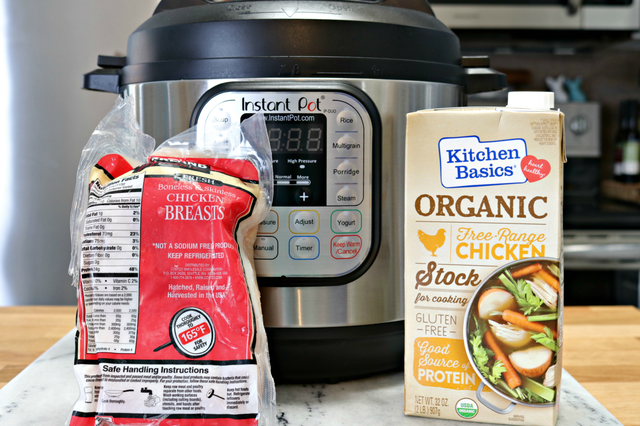ingredients for making Instant Pot shredded chicken