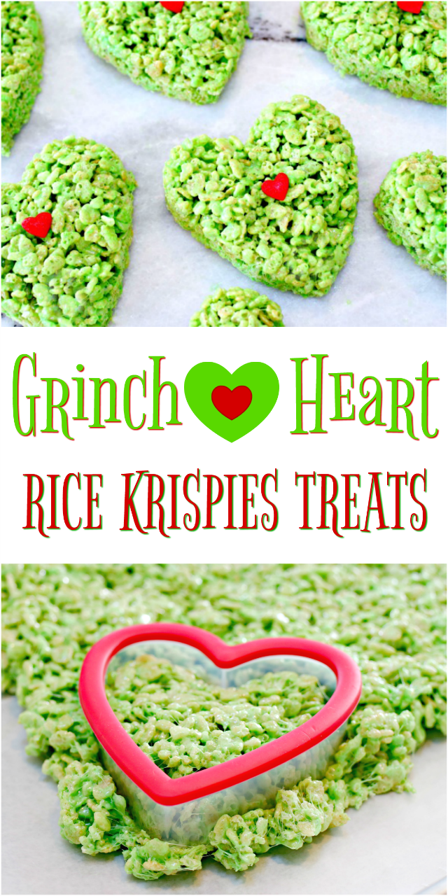 Grinch Heart Rice Krispies Treats
