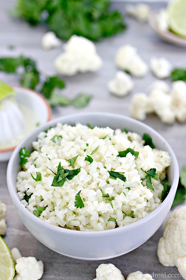 Cilantro lime cauliflower rice in a bowl