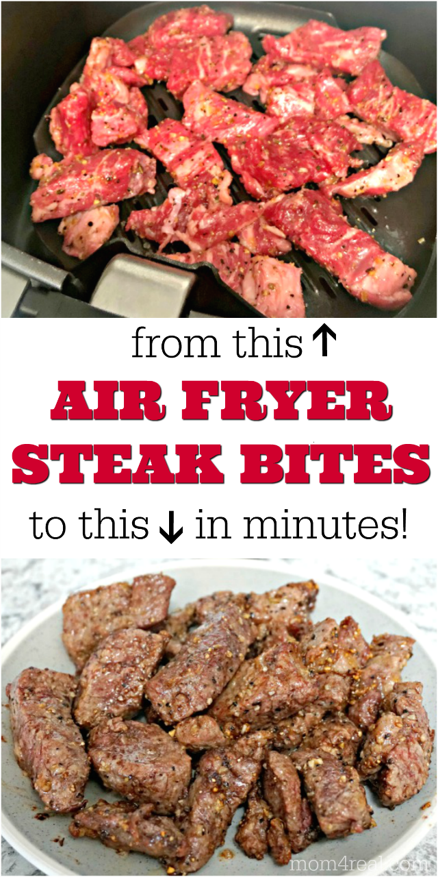 Air Fryer Steak Bites Before and After