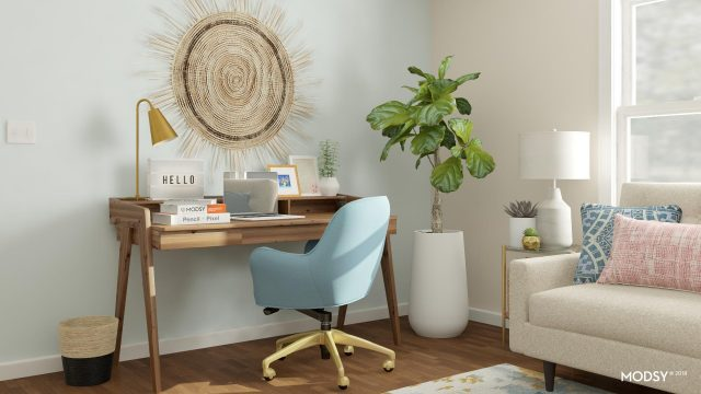 wooden desk with blue office chair