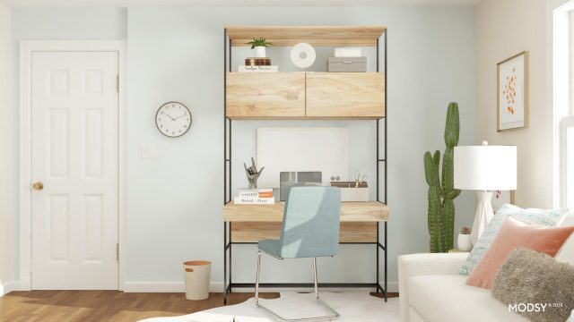 multi-tiered desk with chair home office