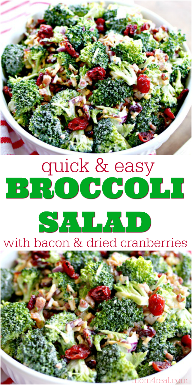 Broccoli Salad With Bacon And Dried Cranberries Mom 4 Real